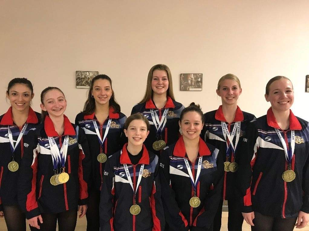 The Dancer's Studio sent eight dancers to compete at the World Tap Dance Championships in Germany, and every one of them came home with a medal. Pictured are (back) Nicole Evans (Branford), Karissa Fryar (Guilford), Piper Forbush (Durham), and Paige Rossicone (North Branford); along with (front) Juliana Montgomery (Guilford), Scotland Forbush (Durham), Stacey Richetelli (West Haven), and Taylor Levine (North Branford). Photo courtesy of Sheri Bonanno