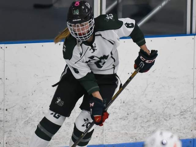 Daniella Vickerman and the Guilford girls' ice hockey squad took a 3-1 loss to the Suffield co-op in their season opener last week. File photo by Kelley Fryer/The Courier