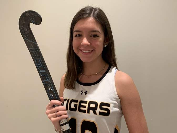 Senior captain midfielder Maeve Connors completed her career with the Hand field hockey squad by garnering All-State honors, while taking the Tigers all the way to the final of the Class M State Tournament. Photo courtesy of Maeve Connors