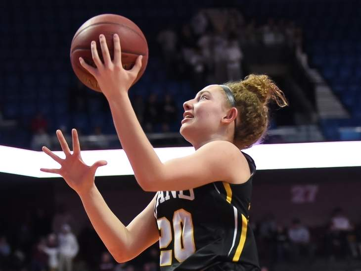 Senior Summer Adams and the Hand girls' basketball squad started their season with a 48-43 overtime win against Farmington on Dec. 18. File photo by Kelley Fryer/The Source