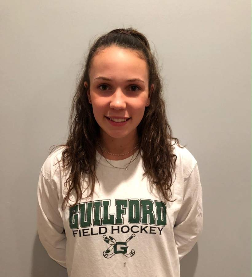 Junior Hannah Tillier made the All-SCC First Team while leading the Guilford field hockey squad to a perfect season in 2019. Next year, Hannah will lead the Indians' as one of the club's senior captains. Photo courtesy of Hannah Tillier