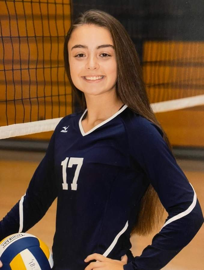 Junior Carly Cordova threw down 150 kills in her first year as a varsity regular for the East Haven volleyball team. Carly will lead the Yellowjackets as one of their senior captains next season. Photo courtesy of Carly Cordova