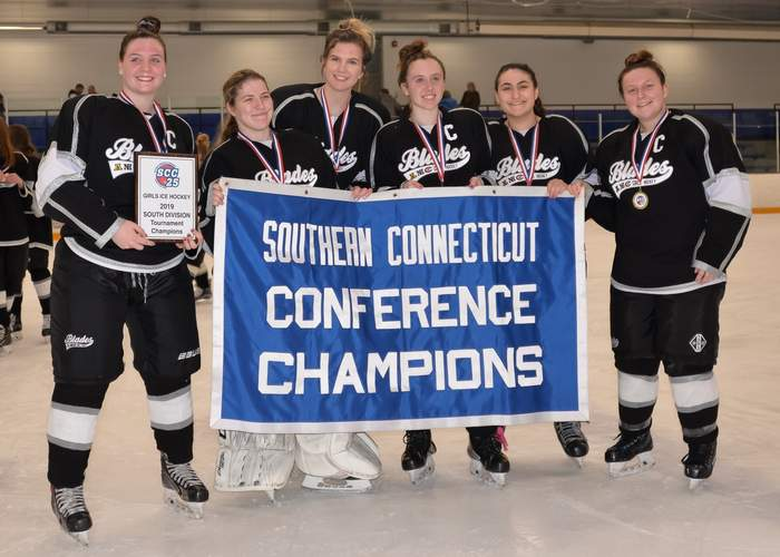 The Amity-North Haven-Cheshire girls' ice hockey squad went on a magical run to claim its conference crown in 2019. Pictured from the Blades are Meaghan Hogan, North Haven residents Caitlin Ranciato, Katie St. Peter, and Shannon Reilly, and Hannah Sosensky and Andrea Delvecchio. File photo by Kelley Fryer/The Courier