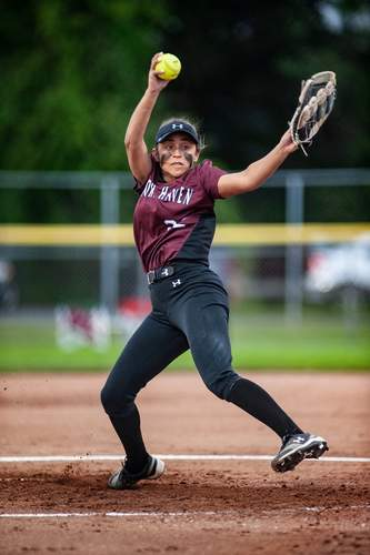 Lauren Card pitched three perfect games while helping the North Haven softball team notch 22 victories and make it back to the SCC Tournament final in 2019. File photo by Susan Lambert/The Courier