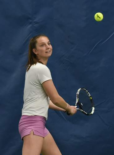 Julia Migliorini finished her excellent high school career on the tennis court by having an exceptional senior season for North Haven. File photo by Kelley Fryer/The Courier
