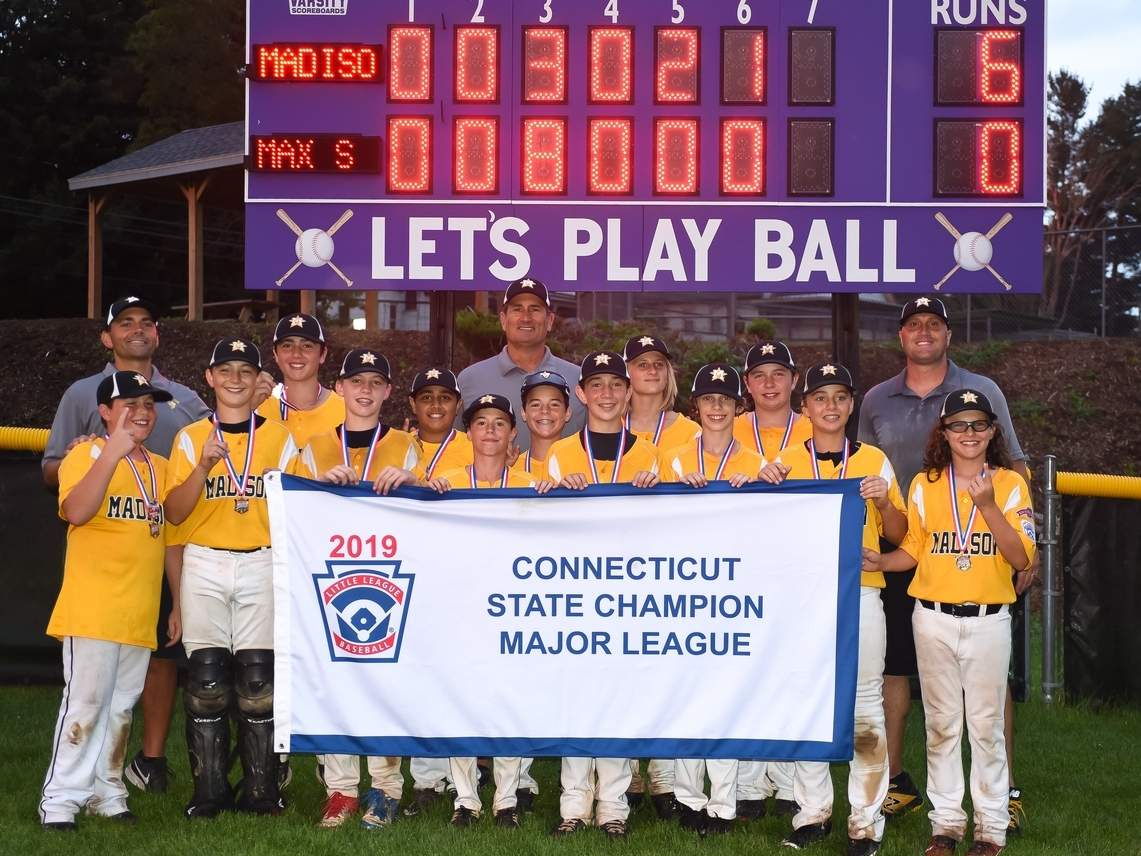 The Madison Little League Majors All-Star baseball team was the best in Connecticut in 2019. Madison claimed district, section, and state titles on its way to making the New England Regional semifinals this summer. Photo by Kelley Fryer/The Source