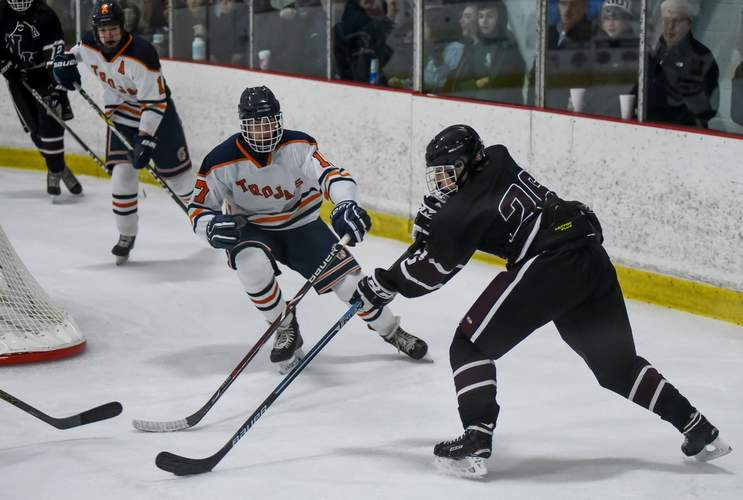 Junior Eli Brubacher found the back of the net when the North Haven boys' ice hockey squad skated to a 2-2 tie against Amity on Jan. 4. File photo by Kelley Fryer/The Courier