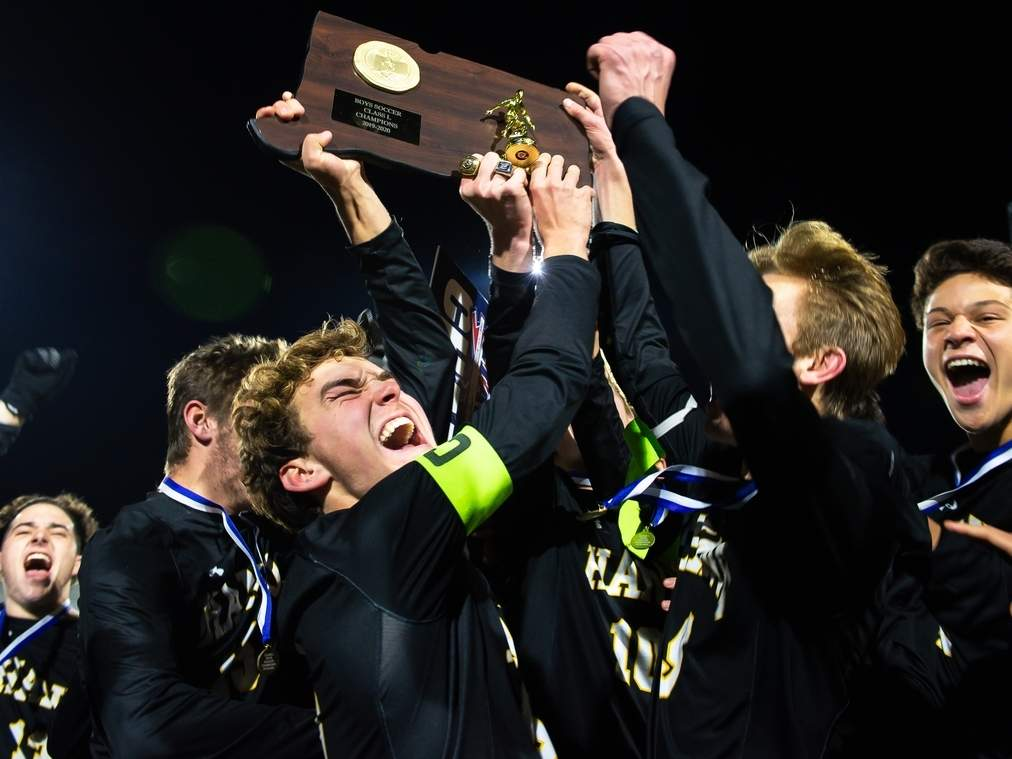 The Hand boys' soccer squad claimed its fourth-consecutive state title by posting a 4-3 double-overtime victory against Wilton in the Class L state final this past fall. File photo by Kelley Fryer/The Source