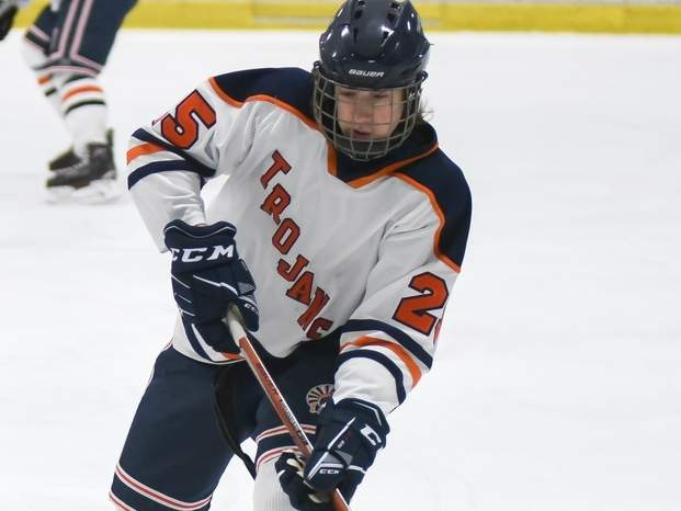 George DiNapoli and the Lyman Hall/H-K/Coginchaug ice hockey squad earned their first win of the season with a 4-2 victory versus Branford on Jan. 4. File photo by Kelley Fryer/The Source