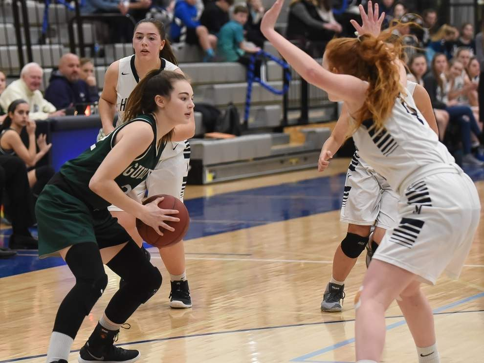 Faith O'Donnell and the Guilford girls' basketball team earned their first win of the year when they defeated Avon by a 40-21 score on Dec. 30. File photo by Kelley Fryer/The Courier