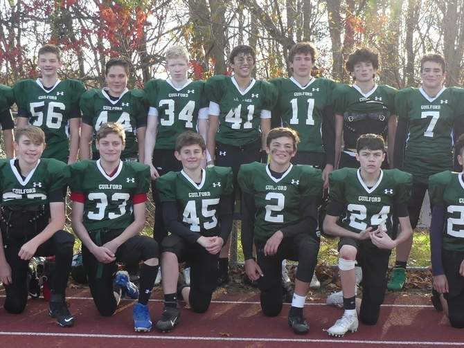 The Guilford Youth Football 8th-grade squad went 9-2 on its way to making the title game in the Shoreline Youth Football Conference this past fall. Pictured from the team are (front) Jaden Iannaccone, Brady Hallihan, Caden Welch, Charlie Messercola, Julian Schlessel, Jake Jahnige, Grady Holabird, Henry Sedas, and Joe Tafro; (back) Nate Shippy, Jean-Paul Meguerditchian, Jacob Helland, Timmy Hastings, Ryan McCullagh, Trevor Ridley, Tyler Hilgert, Jaco Corso, Buddy Gambardella, and Zachory Giboski. Photo courtesy of Sandra Ridley