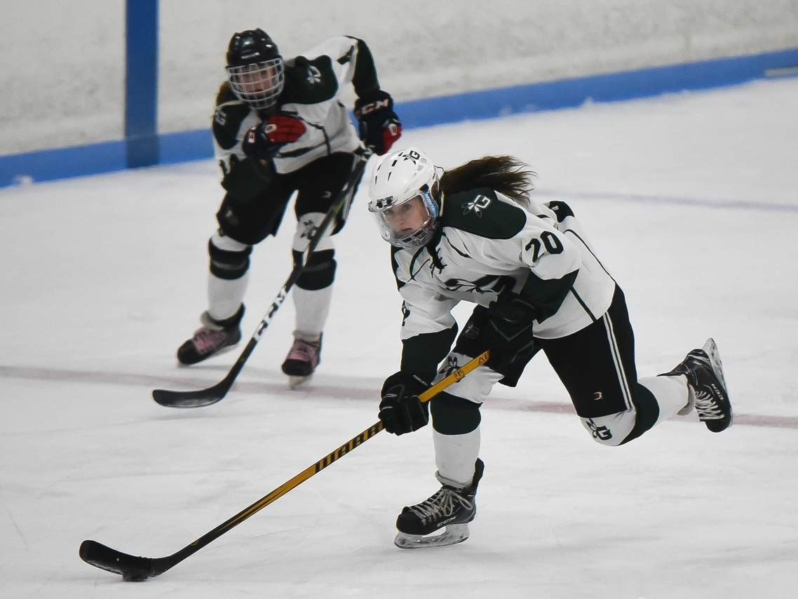 Sophomore center Maddie Epke and the Guilford girls' ice hockey squad won a pair of contests last week to boost their record to 3-2 this season. Photo by Kelley Fryer/The Courier
