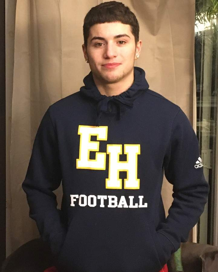 Mike Caruso helped the East Haven football team achieve back-to-back 7-3 seasons during the past two campaigns. Mike earned All-SCC Tier 3 honors at defensive back while leading the Yellowjackets as a senior captain last fall. Photo courtesy of Mike Caruso