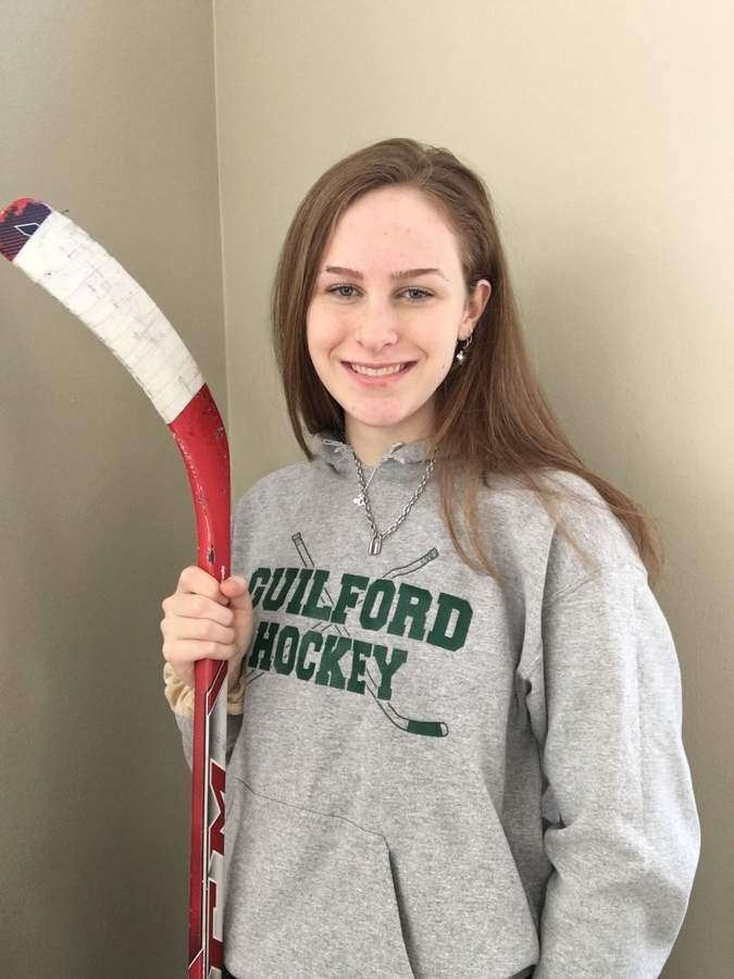 Senior forward Audrey Rowen feels glad to be competing for the Guilford girls' ice hockey team after dealing with a thumb injury. Photo courtesy of Audrey Rowen