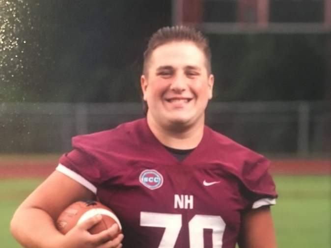 Frankie Squeglia recently finished his career with the North Haven football team by earning a starting spot at center in his senior season. Photo courtesy of Frankie Squeglia