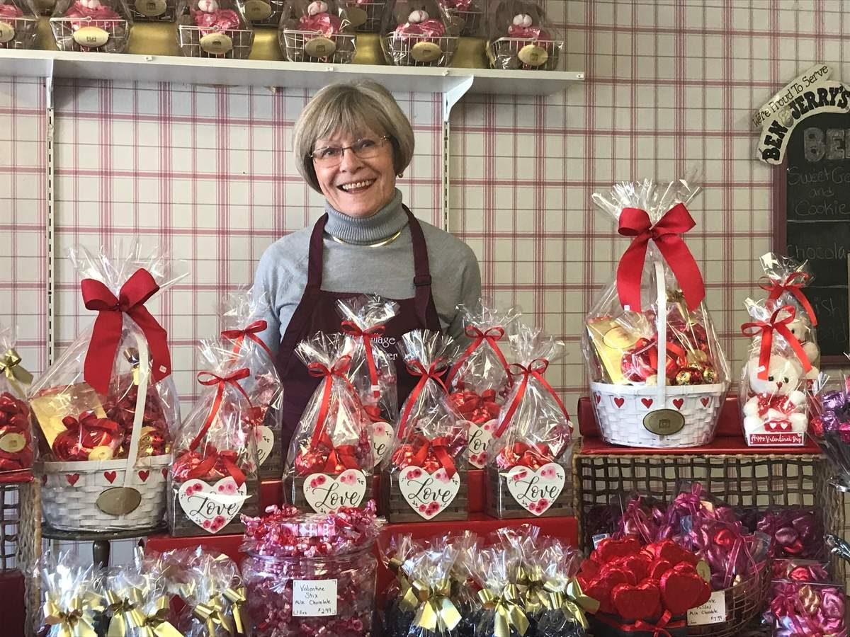 Ingrid Collins and her iconic Guilford business, The Village Chocolatier, is prepared for Valentine's Day, which is also the shop's third-best sales day of the year (Christmas tops the list, followed by Easter). Photo by Pam Johnson/The Courier
