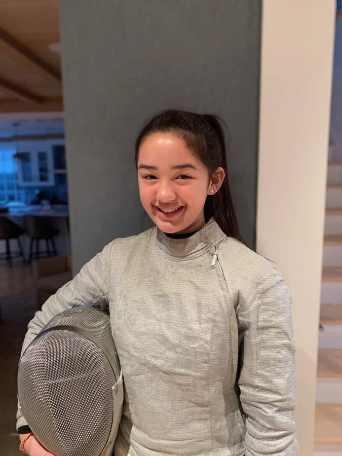 Shayla Flynn is leading the Guilford girls' fencing team as a saber competitor and a senior captain this winter. Photo courtesy of Shayla Flynn