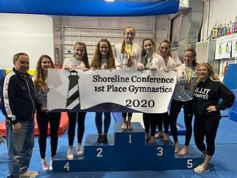 The Valley Regional gymnastics team earned first place in the Shoreline Conference Championship with a score of 111.95 points at ABC Gymnastics on Feb. 7. Photo courtesy of Monica Bauer