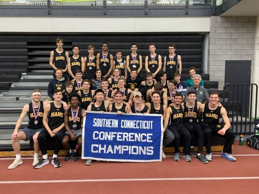 The Hand boys' indoor track squad followed up its historic victory at sectionals by taking first place at the SCC Championship for the first time in program history last week. The Tigers now get ready to compete at states this weekend. Photo courtesy of John Steady
