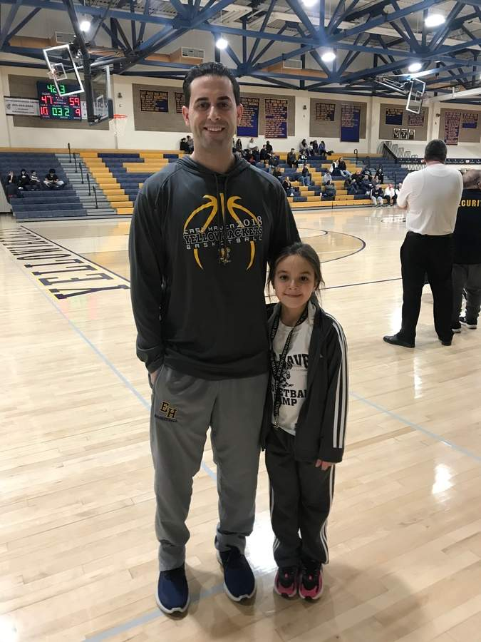 East Haven basketball alum Mark Stout came back to his alma mater to join the Yellowjackets' coaching staff this winter. Mark also coaches the Junior Basketball team that his daughter Meadow plays for in Branford. Photo courtesy of Mark Stout
