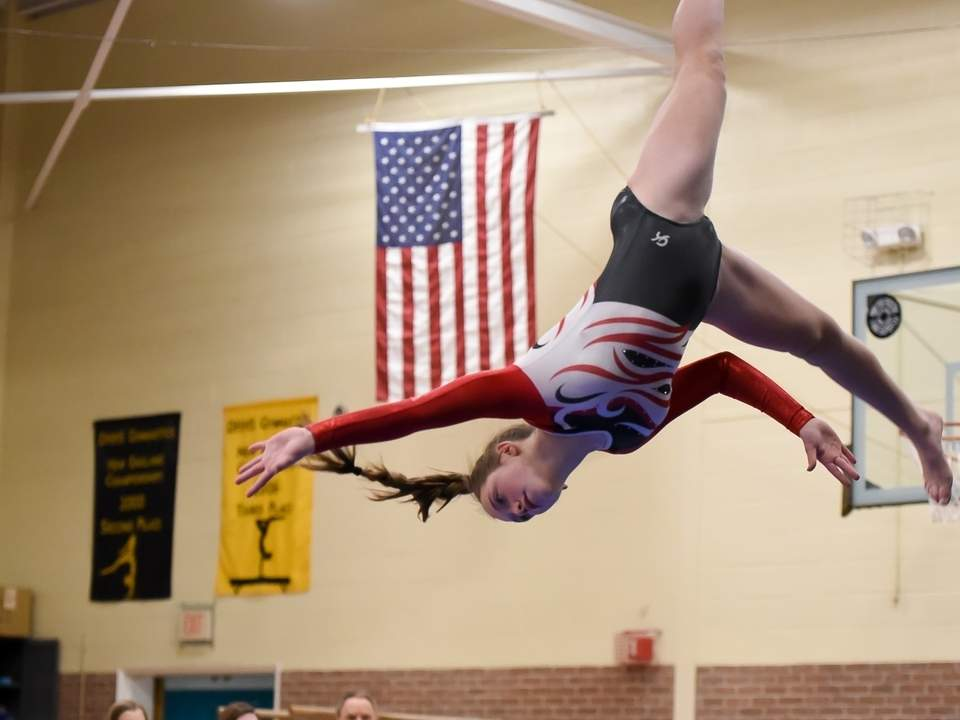 Sophomore Grace Jacaruso and the Valley Regional gymnastics team earned 110.9-92.8 win over Haddam-Killingworth/Morgan/Hale-Ray in their final meet of the regular season. Jacaruso turned in a 7.55 score on the beam at the meet. File photo by Kelley Fryer/The Courier