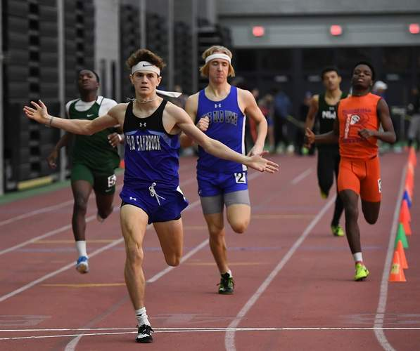 Cooper Luciani earned a first-place finish in the 600-meter run to help the Rams' boys' indoor track team take fourth place at the Class S State Championship on Feb. 14.  Photo by Kelley Fryer/Harbor News