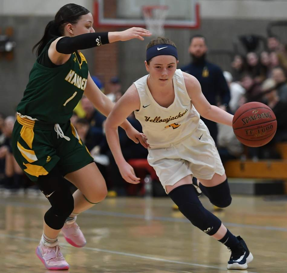 East Haven girls basketball lost 36-40 to Hamden in the SCC Championship game at Branford High School. Erin Curran  (4) Photo by Kelley Fryer/The Courier