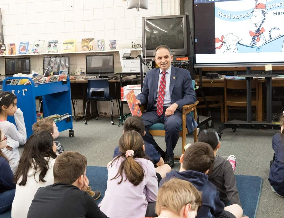 State Representative Dave Yaccarino (R-87) read The Butter Battle Book to students at Montowese School to celebrate the birthday of Dr. Seuss as part of National Read Across America Day. Photo courtesy of Alicia Mucha