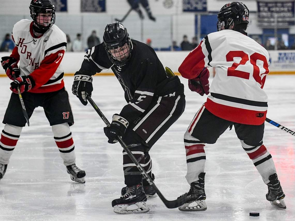 Mason Sullivan scored a goal in the semifinals to help the North Haven boys' ice hockey squad advance to the championship game of the SCC/SWC Division II Tournament. The Indians took a 1-0 loss to Branford in the conference final at Bennett Rink on March 7. Photo by Susan Lambert/The Courier