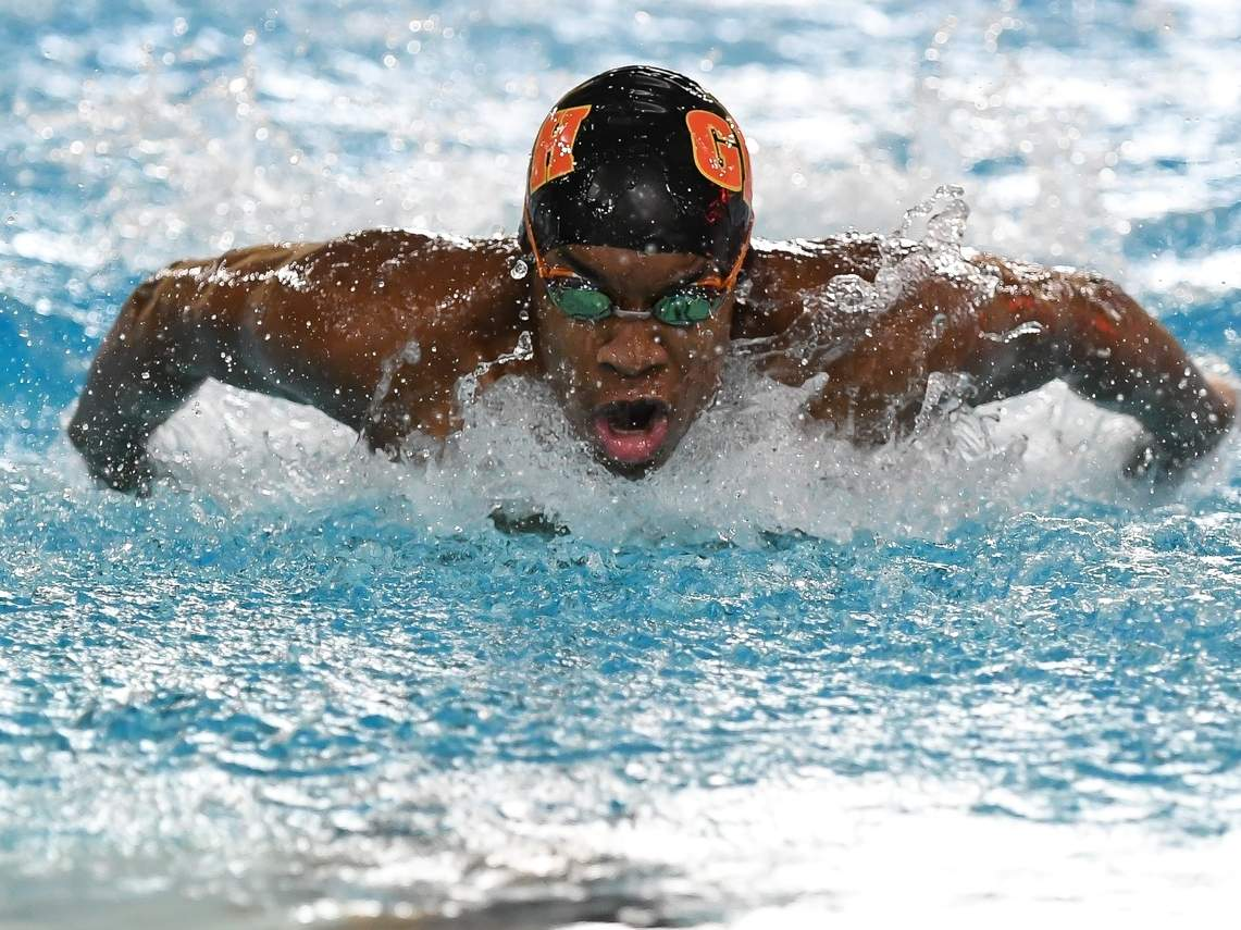 Sophomore Hethon Foster swam on a victorious 400 freestyle relay and also took second place in the 200 individual medley for the Greater New Haven Warriors at the SCC Championship. The Warriors finished in fifth place at the meet. File photo by Kelley Fryer/The Courier
