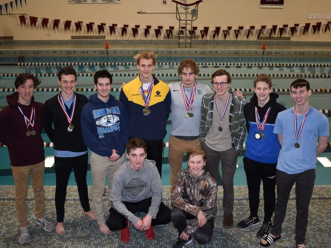 The H-K/Morgan/Valley boys' swim team took second place at the Nutmeg Conference Championship. Photo courtesy of Kristin Mazziotti