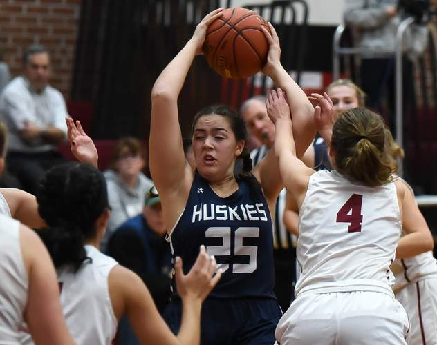 Rachel Lehn and the Huskies made a deep run in the Shoreline Conference Tournament by reaching the final with a 41-40 victory over Cromwell in the semis. Photo by Kelley Fryer/Harbor News
