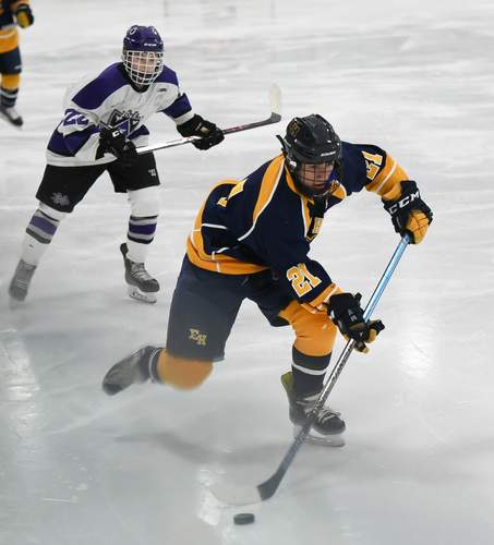 Junior forward Dave Amatruda produced plenty of points for the East Haven co-op boys' ice hockey team during the 2019-'20 season. File photo by Kelley Fryer/The Courier
