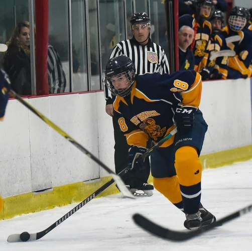 Valley Regional freshman Dylan Ingram was one of the players who held down the fort on defense for the East Haven-Old Lyme-Old Saybrook-Morgan-Valley Regional-East Hampton boys' ice hockey squad during the 2019-'20 season. File photo by Kelley Fryer/Valley Courier