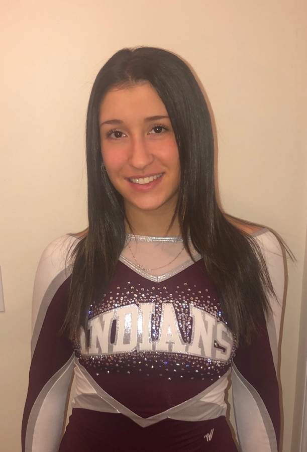Senior captain Alyssa Cannavaciolo finished her career with the North Haven cheerleading team by garnering All-State honors for the Indians this year.  Photo courtesy of Alyssa Cannavaciolo