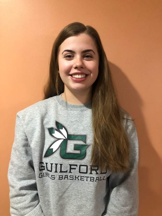 After suffering a concussion last year, Sam Leiby returned to the court this season and made a huge contribution for Guilford girls' hoops as a senior captain. Photo courtesy of Sam Leiby