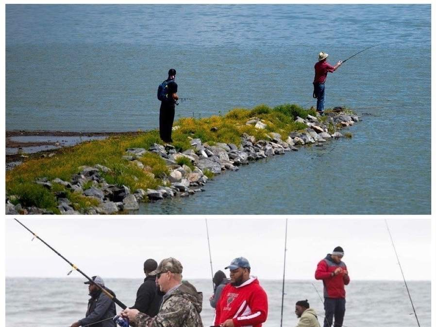 Practicing social distancing as per COVID-19 guidelines (top) and avoiding crowds (bottom) are smart decisions for fishers to make.   Photo illustration courtesy of Captain Morgan