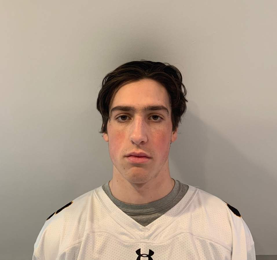 Junior captain John Gagliardi garnered All-Conference distinction for his performance as a defenseman with the Hand boys' ice hockey team this year. Photo courtesy of John Gagliardi