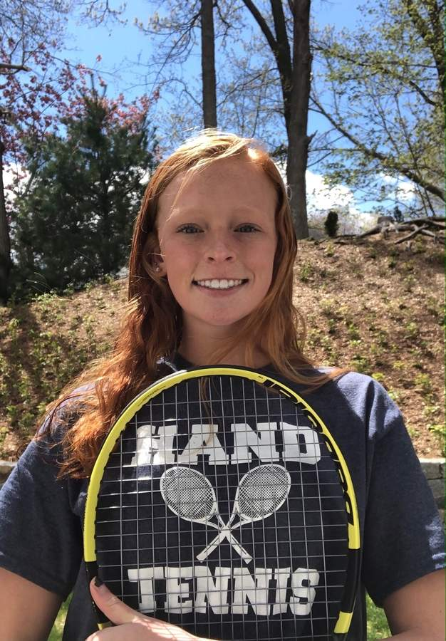 Senior captain Sam Riordan finished with a record of 64-5 in her career with the Hand girls' tennis team. She also helped the Tigers establish themselves as one of the most dominant squads in the state. Photo courtesy of Sam Riordan