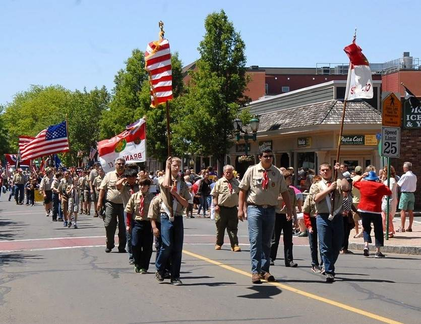 Branford Scouts who traditionally have marched in the town's annual Memorial Day Parade (shown here in 2014) will instead be packing vehicles for a Memorial Day Car Parade on May 25 organized by a local Eagle Scout, Joseph Loffredo.  Photo by Bill O'Brien