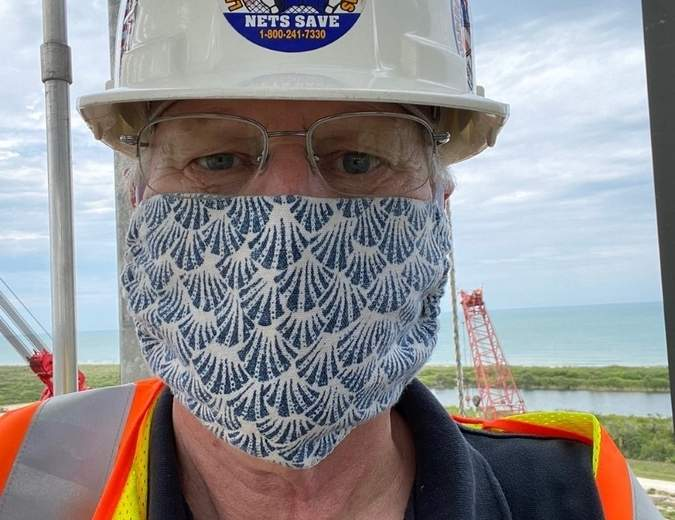 Pucuda CEO John Rexroad wears one of the masks his company is now manufacturing. Photo courtesy of John Rexroad