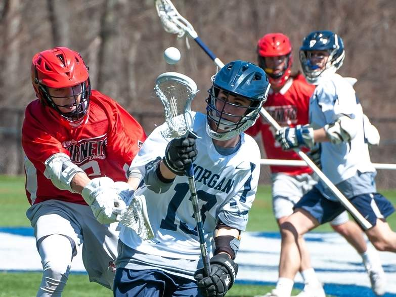 Senior captain midfielder Kyle Gagliardi and the Morgan boys' lacrosse team were hoping to repeat a strong year in 2020 after turning in an 11-8 overall record in 2019. Galiardi was slated to lead a young midfield group for the Huskies. File photo by Kelley Fryer/Harbor News