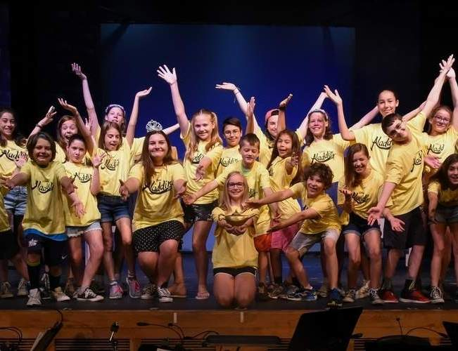The canceled programs include Branford Parks and Recreation Summer Camp, Theatre Camp, Mini Explorers Campers and Families, and Teen Travel. In addition, all Branford Parks and Recreation summer sports camps and clinics have been suspended for 2020. Shown here, a crew of theatre campers took the stage in July, 2018.  File Photo by Kelley Fryer/The Sound