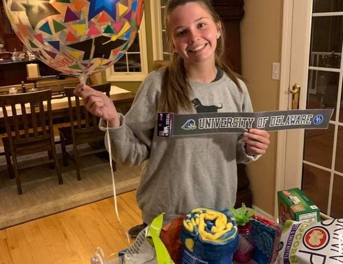 The Morgan School senior Heidi Gaudet displays some of the gifts she's received under the Adopt a Senior program held for the Class of 2020. Photo courtesy of Erin Gaudet