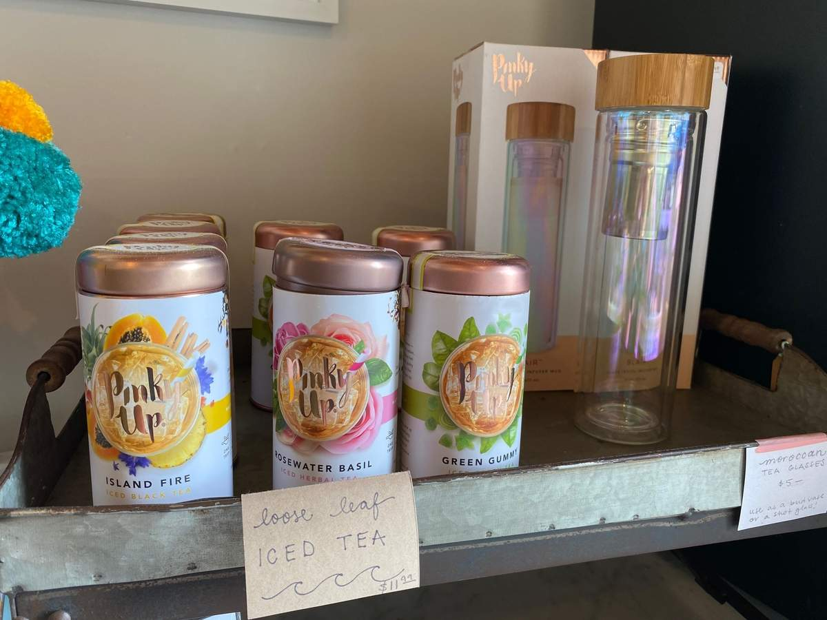 The Rosewater Basil Tea from Pinky Up at the Little Station Shop has tulsi, coconut, lemon verbena, rose petals, chamomile, lemon myrtle, and other flavorings. Photo by Pem McNerney/The Source