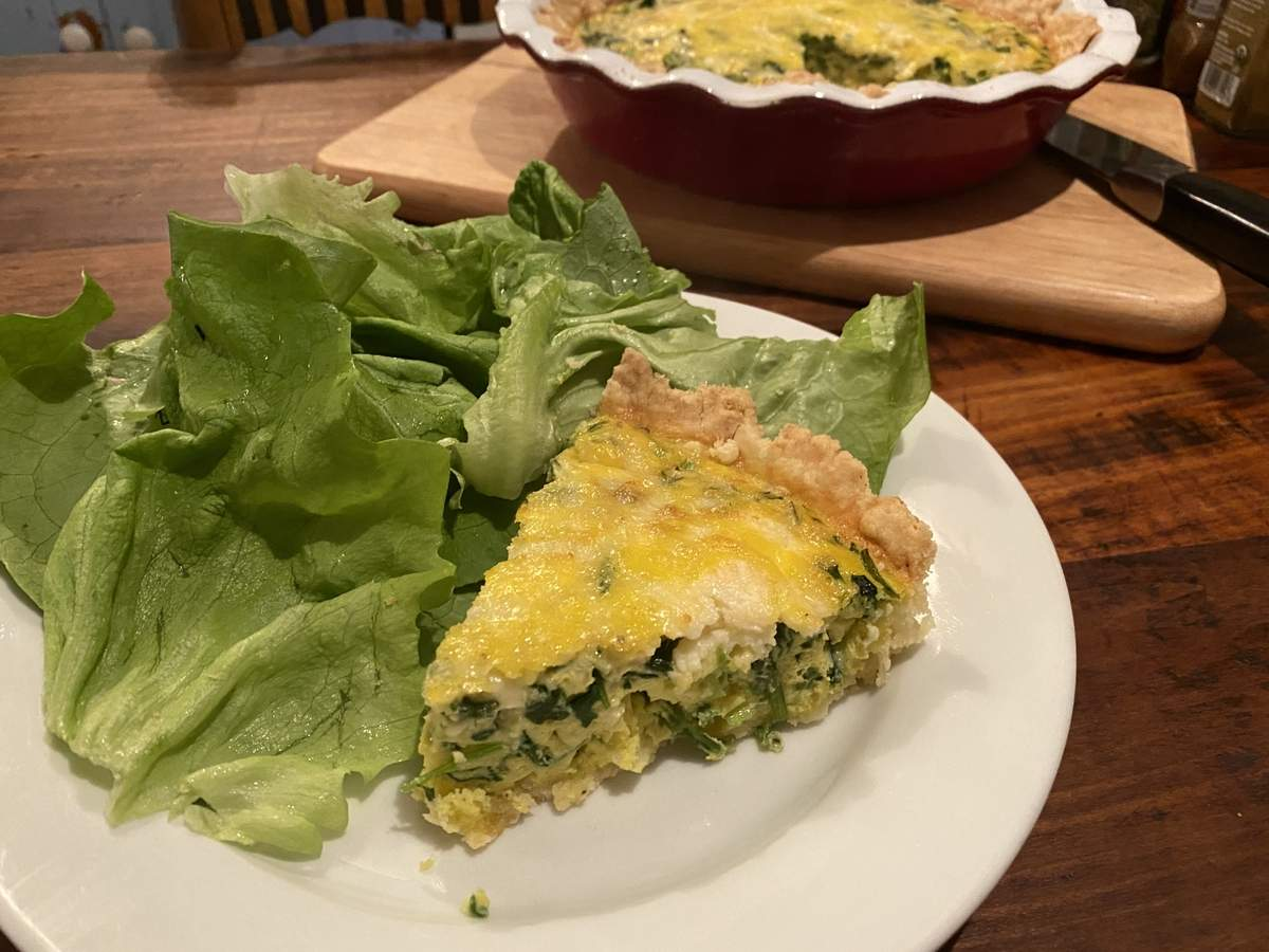 Good for breakfast, lunch, dinner, or an afternoon snack, a quiche is also a great way to use those farm fresh eggs and some of those greens that are wonderfully abundant this time of year. Photo by Pem McNerney/The Source