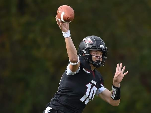 Senior captain Jack Cox and the Valley Regional-Old Lyme football team are on the cusp of being able to start small practice groups to prepare for the 2020 season. Cox will reprise his role as starting quarterback for the Warriors this fall. File photo by Kelley Fryer/The Courier