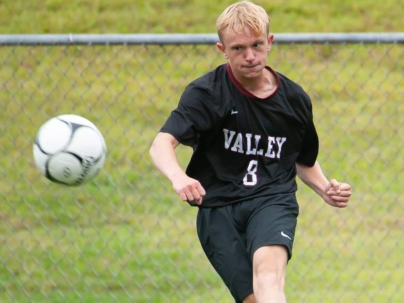 Jake Burdick and the Valley boys' soccer squad will square off against Morgan for their first game of the year on Thursday, Sept. 10. File photo by Kelley Fryer/The Courier