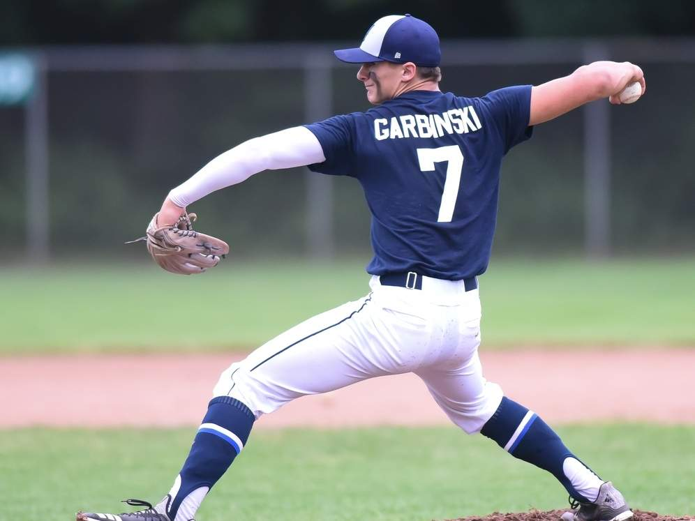 Garret Garbinski contributed with a solid pitching performances for the Clinton Huskies against CT Hank's Yanks on July 18. Garbinski has also been a vital part of the Huskies offense atop the lineup all season. File photo by Kelley Fryer/Harbor News