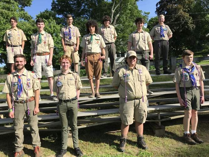 The Valley Regional High School Class of 2020 graduating eagle scouts are, from left (front) Edward Lenz, Sean Davis, Jared Hart, and Anthony Joia; (middle) Michael Raymond, Gavin Hauswirth, and Ryan Shasha; and (back) Joseph Thomas, Sam Rutty, Carl Neubert III, and Gehrig Beighau. Photo by Michael Rutty